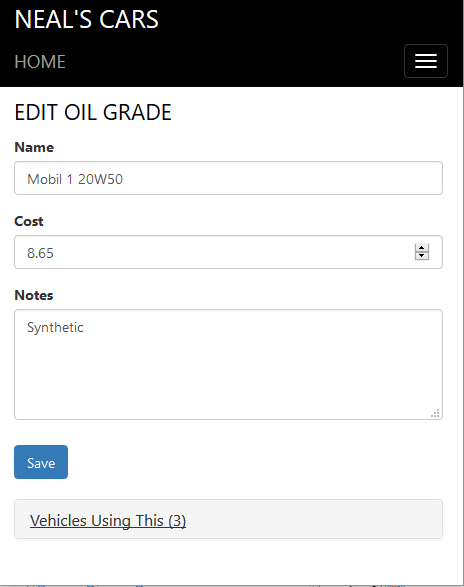 Item Detail Entry (Oil Change)